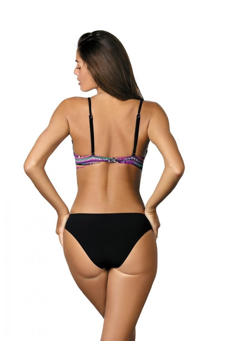 Jednoczęściowy strój kąpielowy Kostium Kąpielowy Model Melania Very Fuchsia-Nero M-426 Black/Violet - Marko