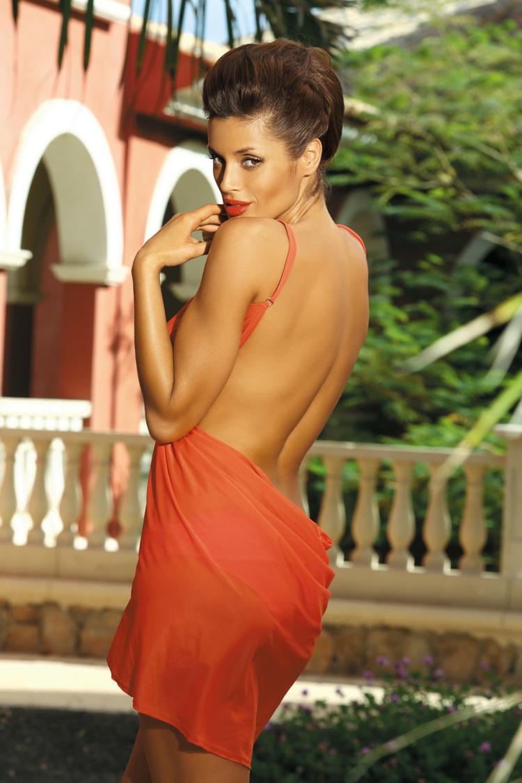 Sukienka Plażow Pareo Model C Gerbera (8)Orange - Marko