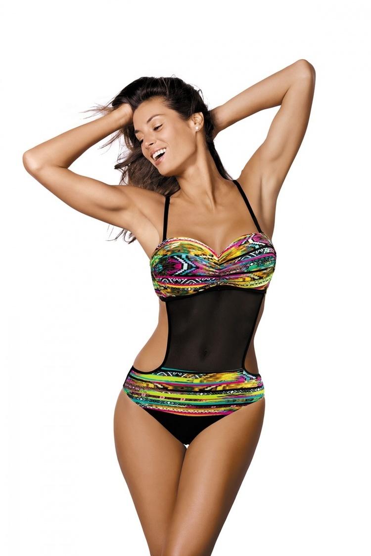 Jednoczęściowy strój kąpielowy Kostium Kąpielowy Model Melania Freeze-Nero M-426 Black/Seledyn - Marko