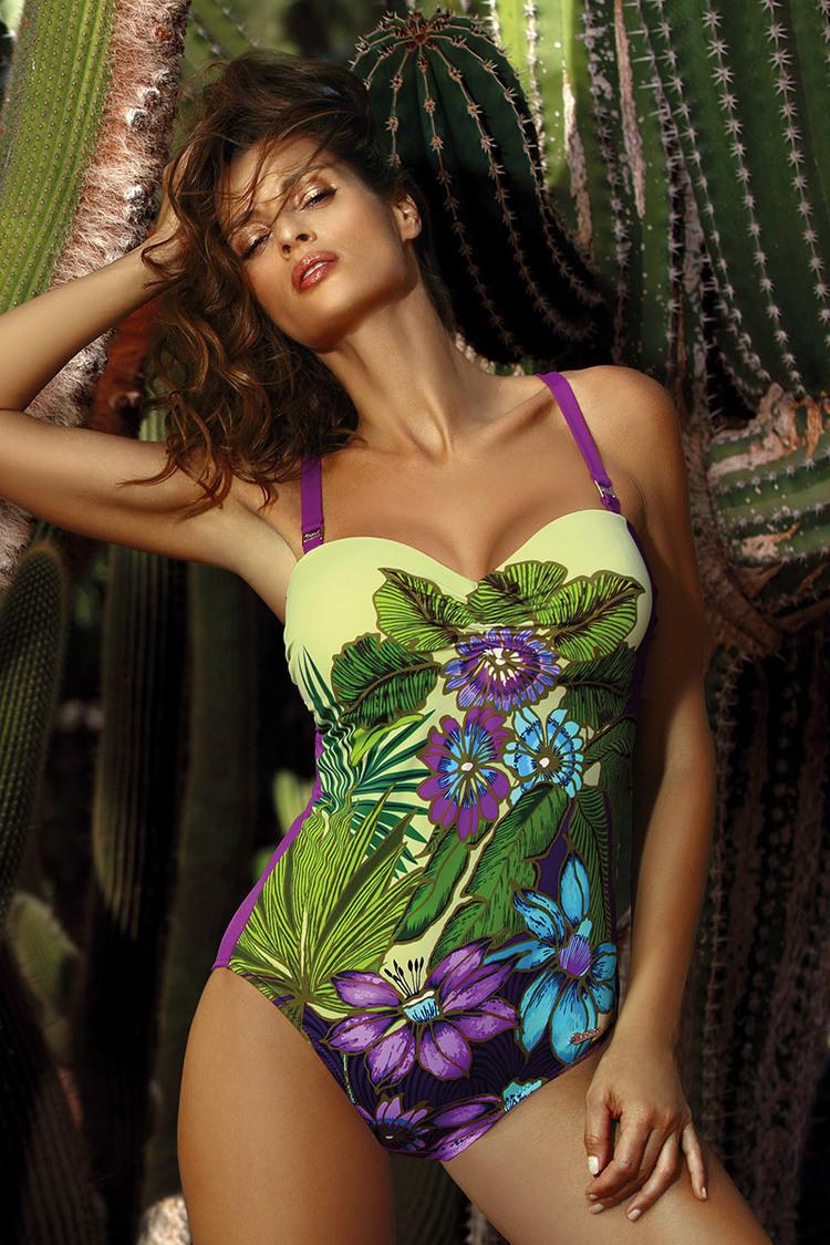 Jednoczęściowy strój kąpielowy Kostium kąpielowy Model Wilma Mitro M-497 Seledyn/Violet - Marko