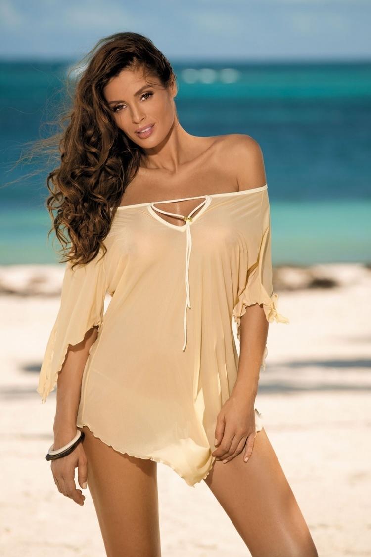 Sukienka Plażow Tunika Model Lily Nudo M-339 Latte - Marko