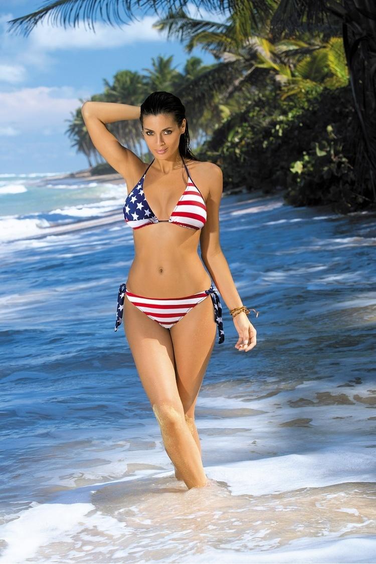 Kostium dwuczęściowy Kostium Kąpielowy Model Nicki M-284 Blu scuro Blue/White/Red - Marko