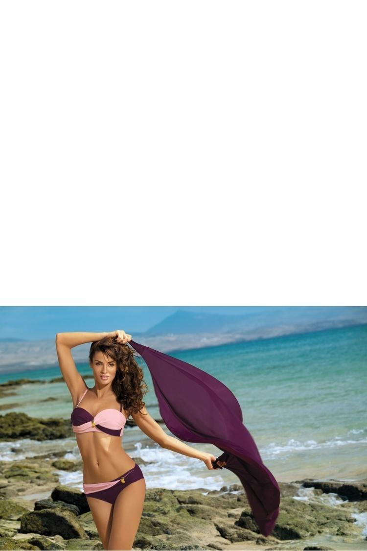 Kostium dwuczęściowy Kostium Kąpielowy Model Liliana Vigneto-Rosa Confetto M-259 Bakłażan/Light Pink - Marko
