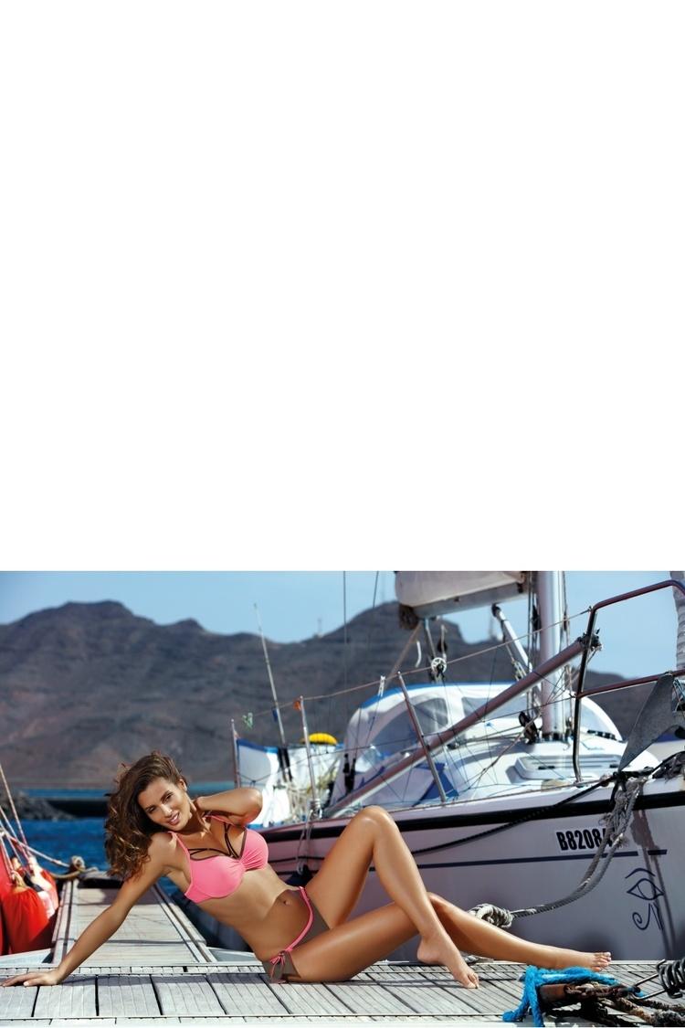 Kostium dwuczęściowy Kostium kąpielowy Model Shirley Dark Taupe-Rosella M-455 Pink/Grey - Marko