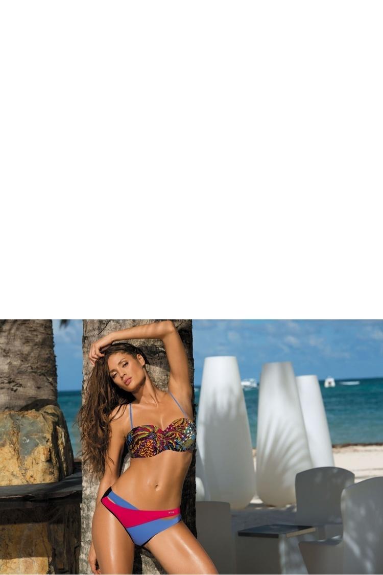 Kostium dwuczęściowy Kostium Kąpielowy Model Margaret Nero-Ortensia Blu-Fresia M-377 Black/Blue/Malina - Marko