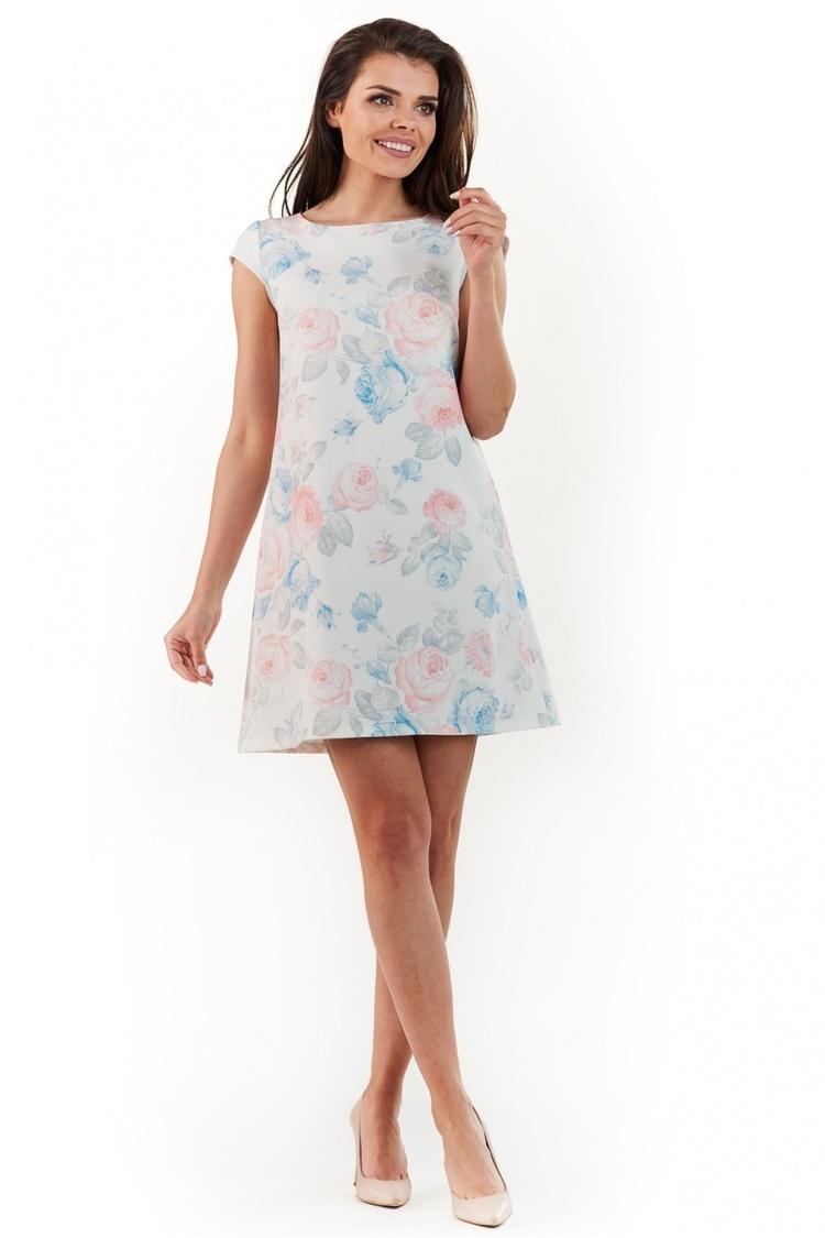 Sukienka Model A226 Kwiaty Pastel - awama