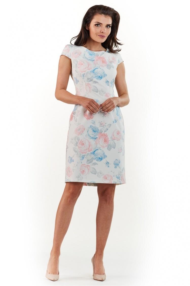 Sukienka Model A225 Kwiaty Pastel - awama