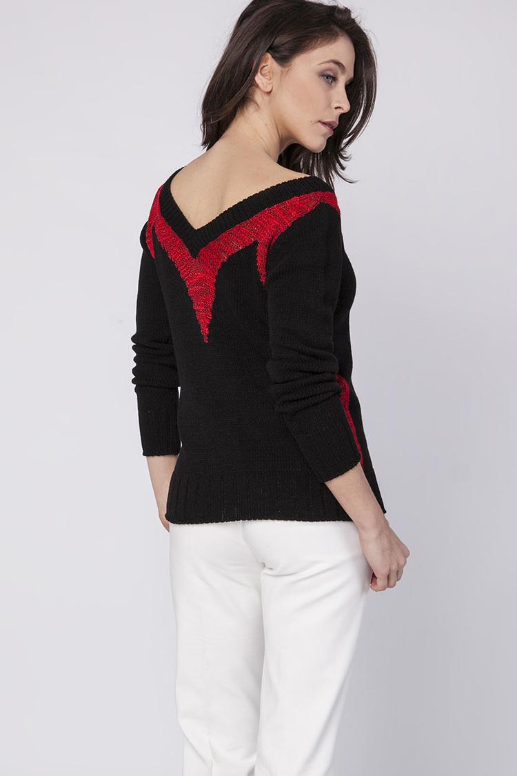 Sweter Damski Model SWE142 Black/Red - MKM