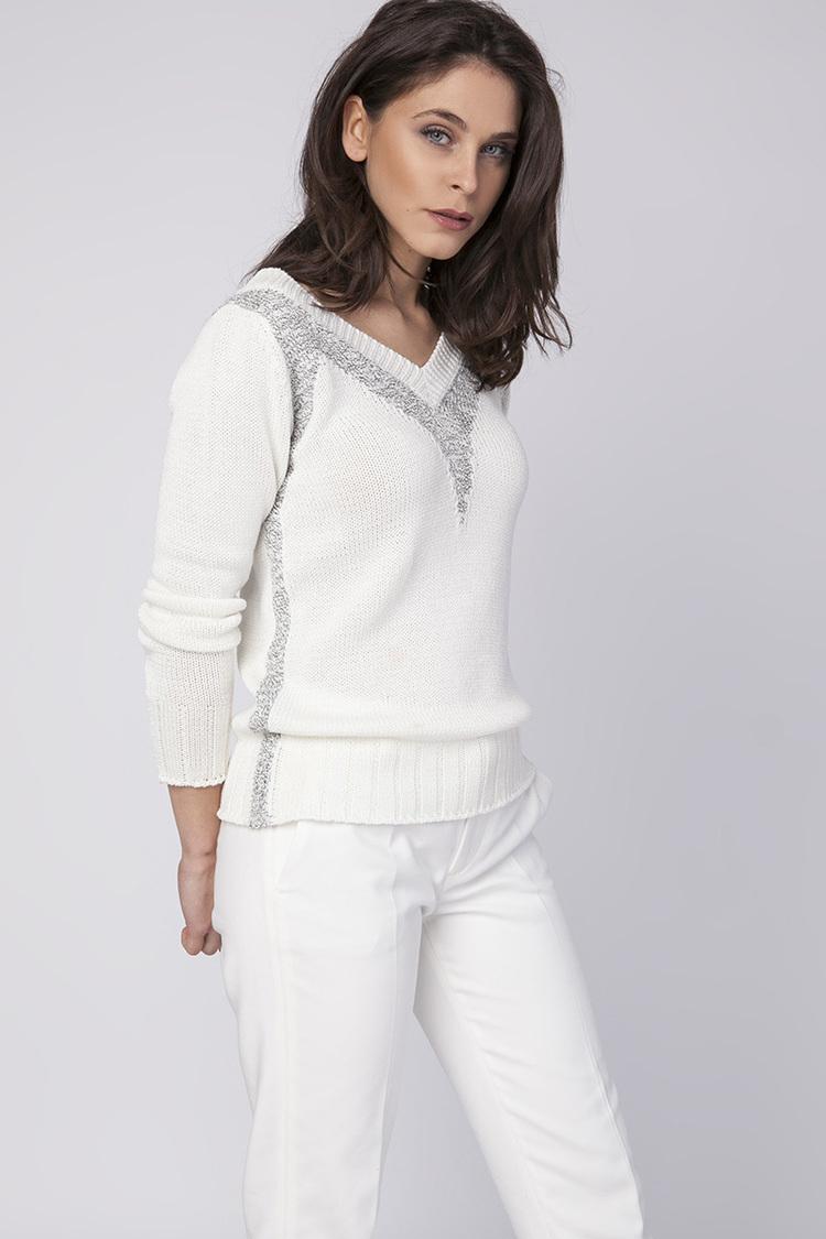 Sweter Damski Model SWE142 Ecru/Grey - MKM