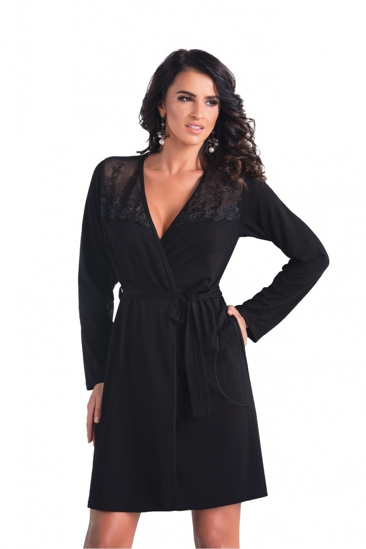Szlafrok Damski Model Paloma Black - Donna