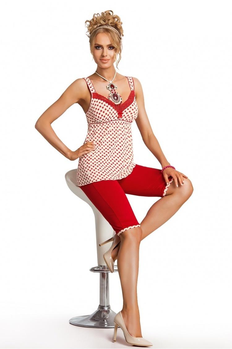 Piżama Damska Model Candy 3/4 Ecru/Red - Donna