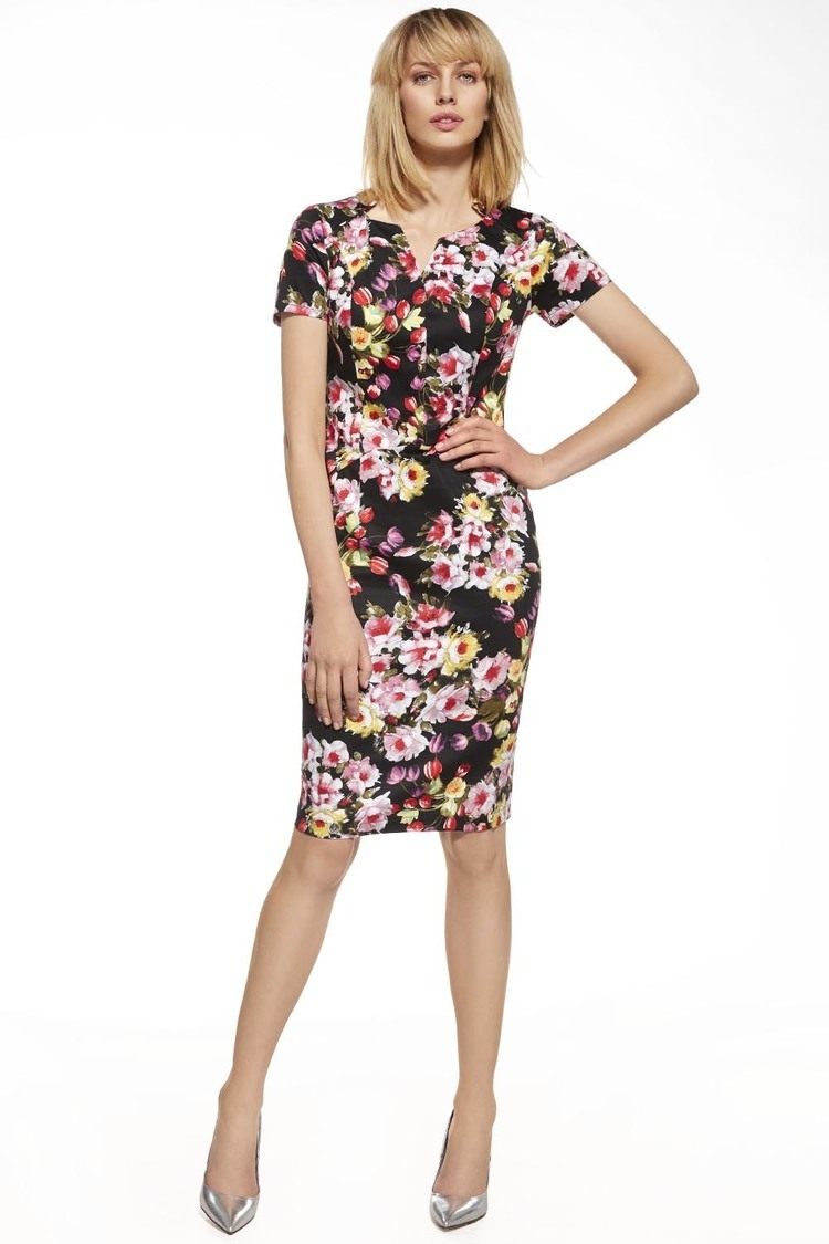 Sukienka Model 230026 Black/Flowers - Enny
