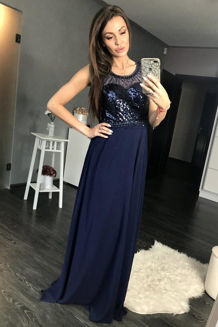 Sukienka Wieczorowa Model 17776 Navy - YourNewStyle