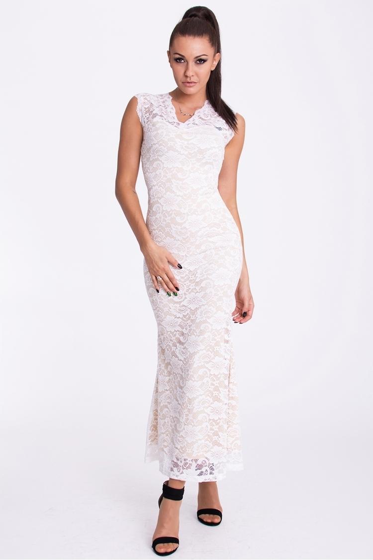 Sukienka Model 17210 Cream/White - YourNewStyle