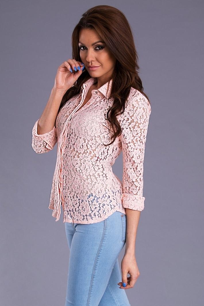 Koszula Damska Model 16447 Pastel Pink - YourNewStyle