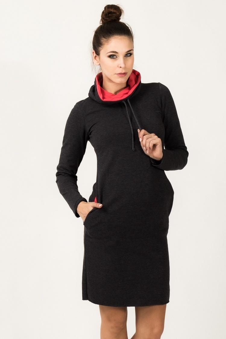 Sukienka model Kaja Dark Gray/Coral - Tessita