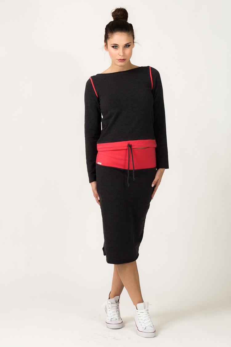 Spódnica Model Mila 3 Dark Grey/Coral - Tessita