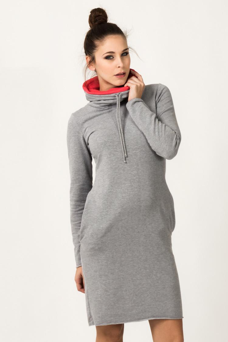 Sukienka Model Kaja 9 Light Grey/Coral - Tessita