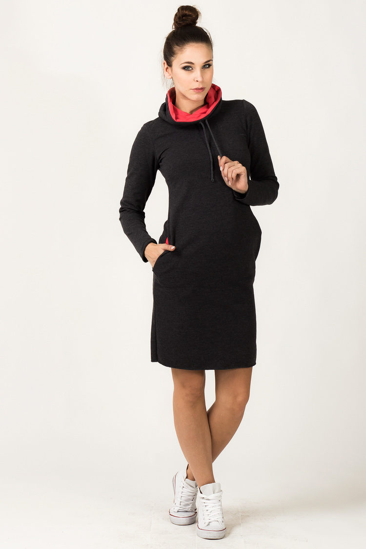 Sukienka Model Kaja 6 Dark Grey/Coral - Tessita