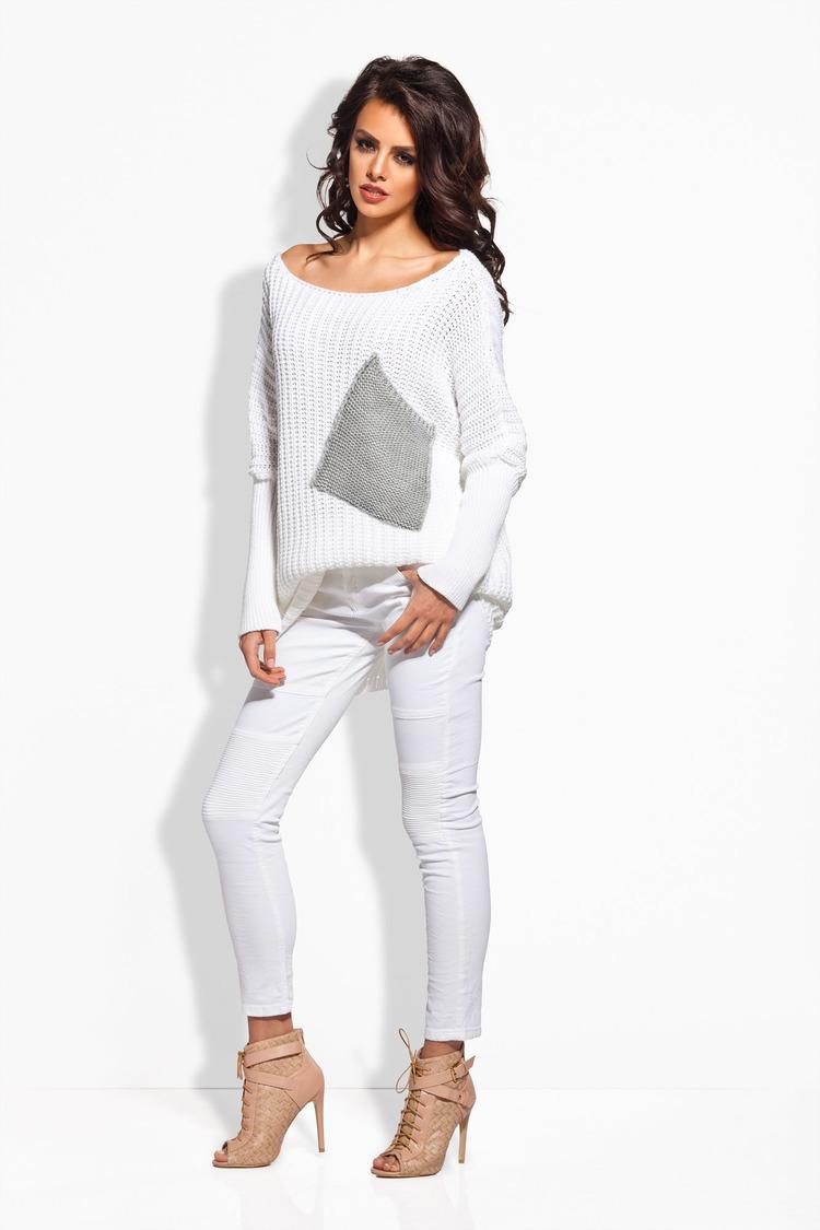 Sweter Damski Model LS166 White/Light Grey - Lemoniade