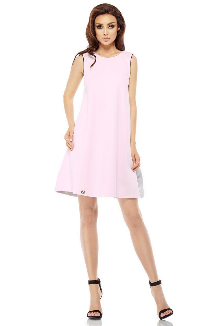 Sukienka Model L247 Powder Pink/Light Grey - Lemoniade