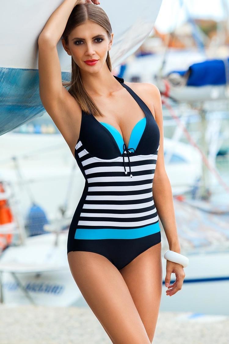 Jednoczęściowy strój kąpielowy Kostium Jednoczęściowy Model Pamela I Black/Blue - Ewlon