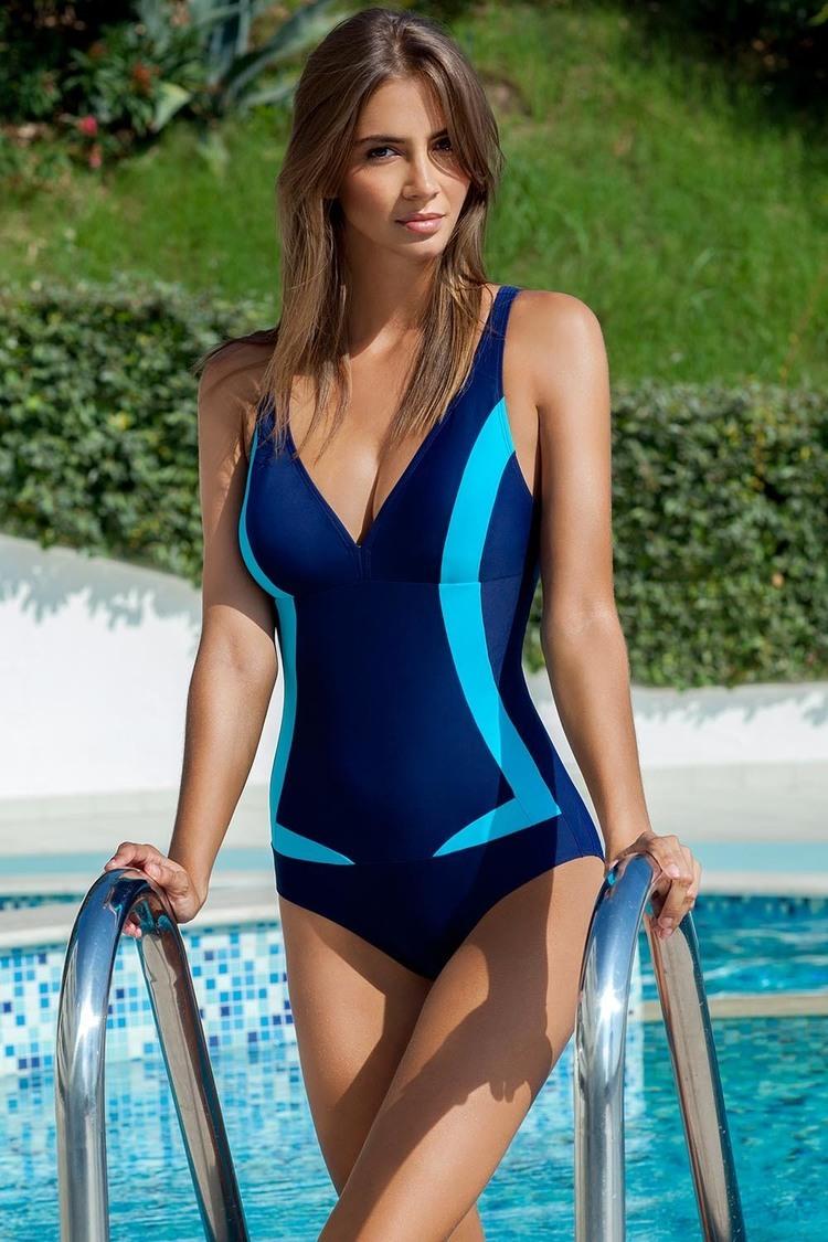 Jednoczęściowy strój kąpielowy Kostium kąpielowy Greta Blue - Ewlon