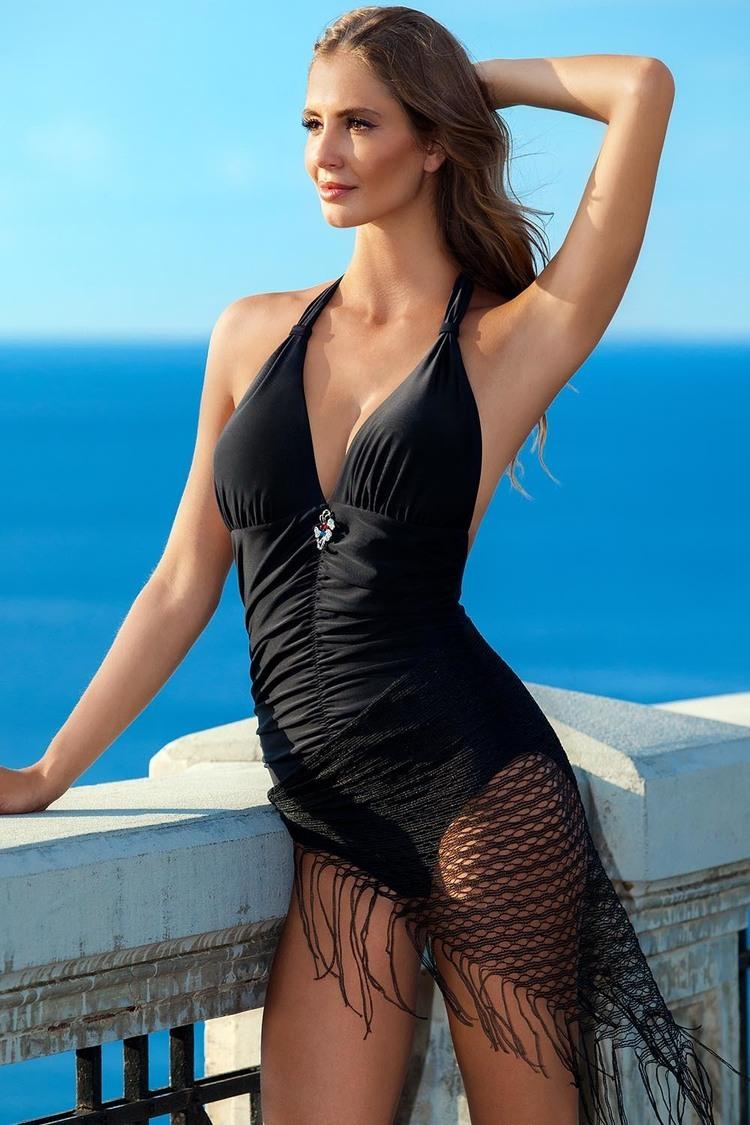 Jednoczęściowy strój kąpielowy Kostium Jednoczęściowy Model Casablanca II Black - Ewlon