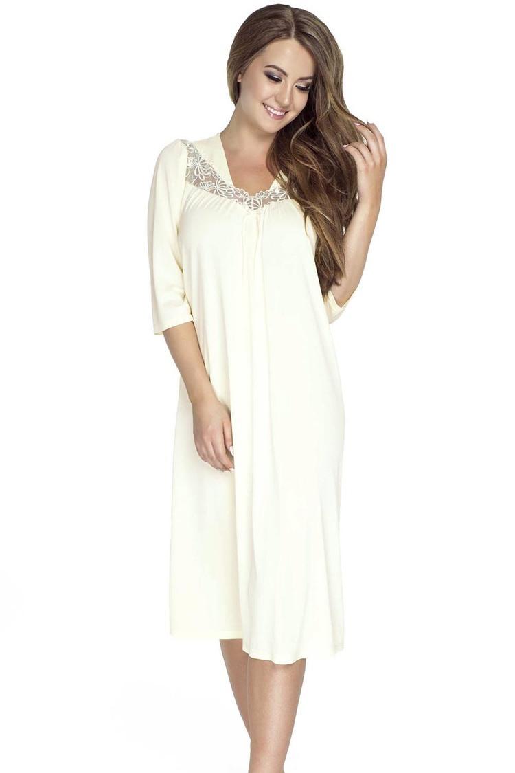 Koszulka nocna Koszula Nocna Model 4133 Cream - Mewa