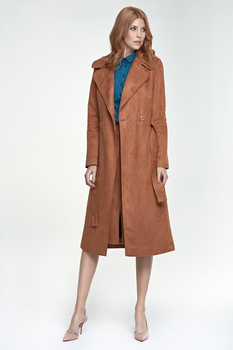 Długi płaszcz PL03 karmel - Nife