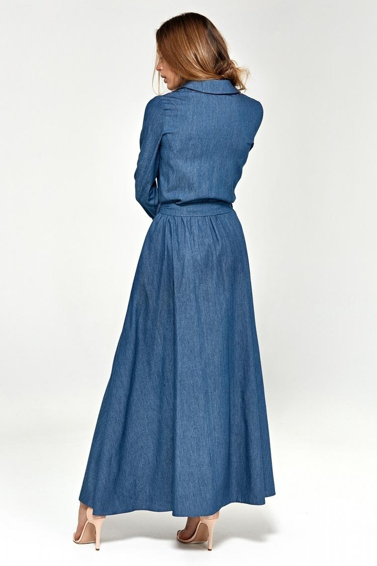 Sukienka maxi z długim rękawem S93 Jeans - Nife