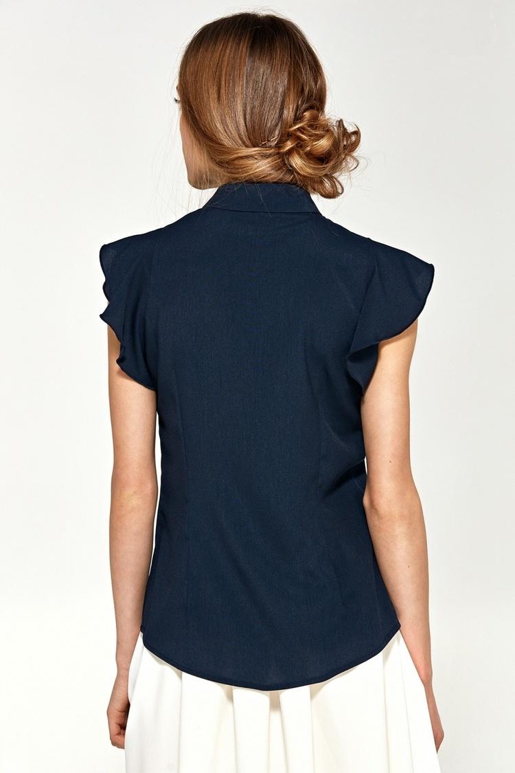 Bluzka z krótkim rękawem i falbanami B88 Navy - Nife