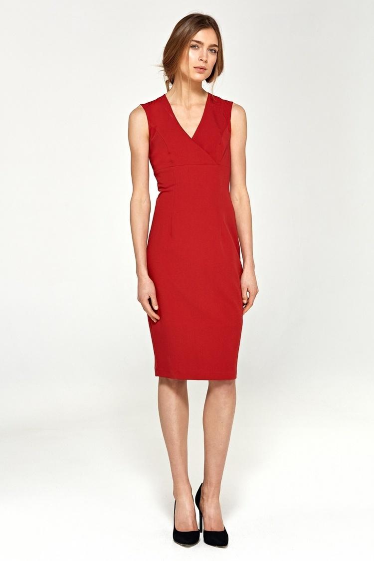 Ołówkowa sukienka z dekoltem V S98 Red - Nife