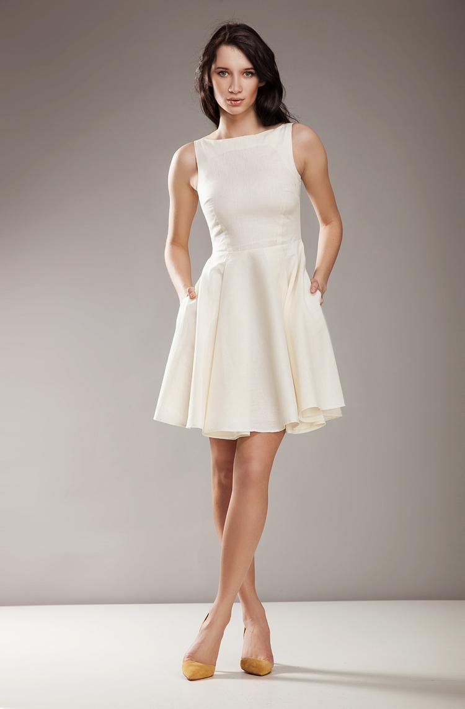 Sukienka S17 kremowa - Nife
