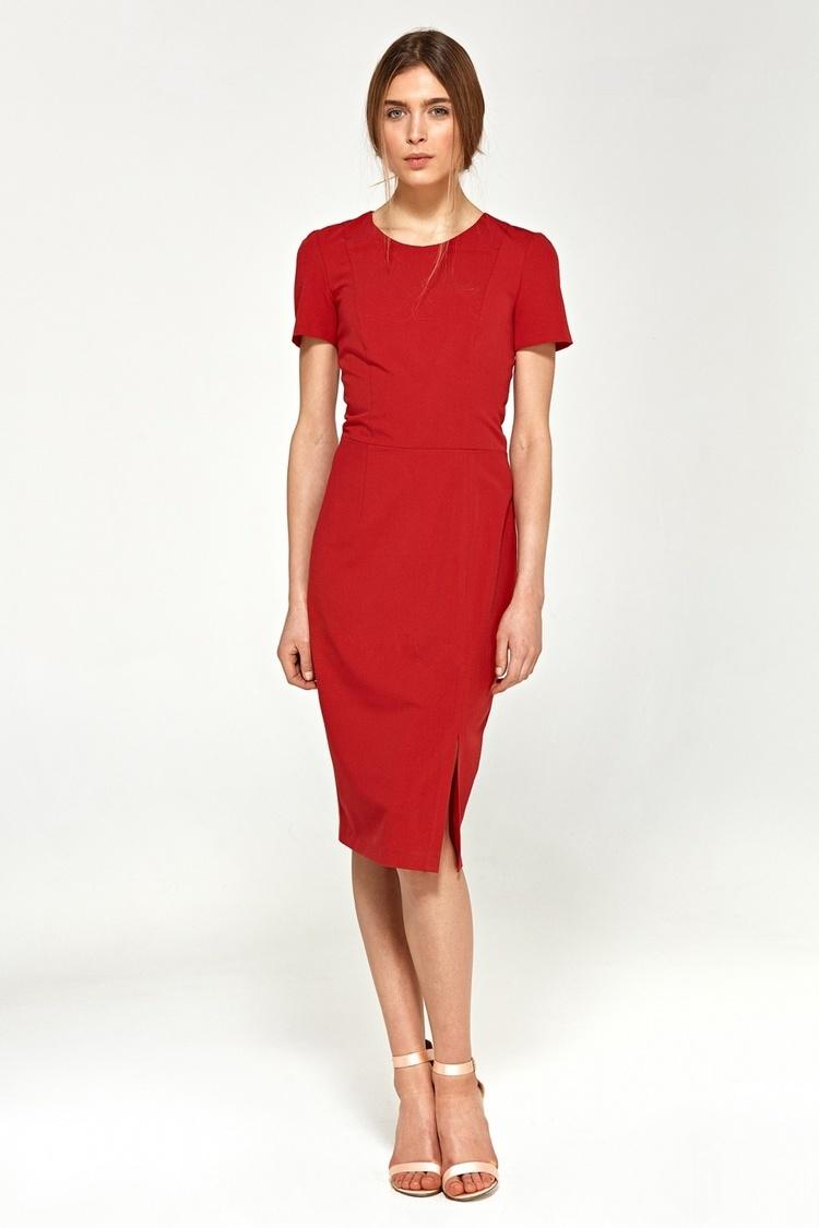 Sukienka Dopasowana sukienka z krótkim rękawem S97 Red - Nife