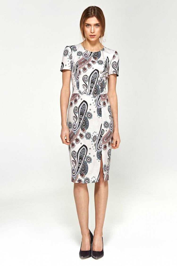 Sukienka Dopasowana sukienka z krótkim rękawem S97 White/Wzór - Nife