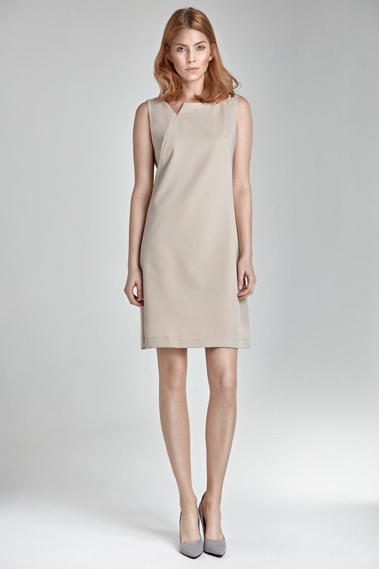 Sukienka z rozcięciem na dekolcie S23 Beige - Nife