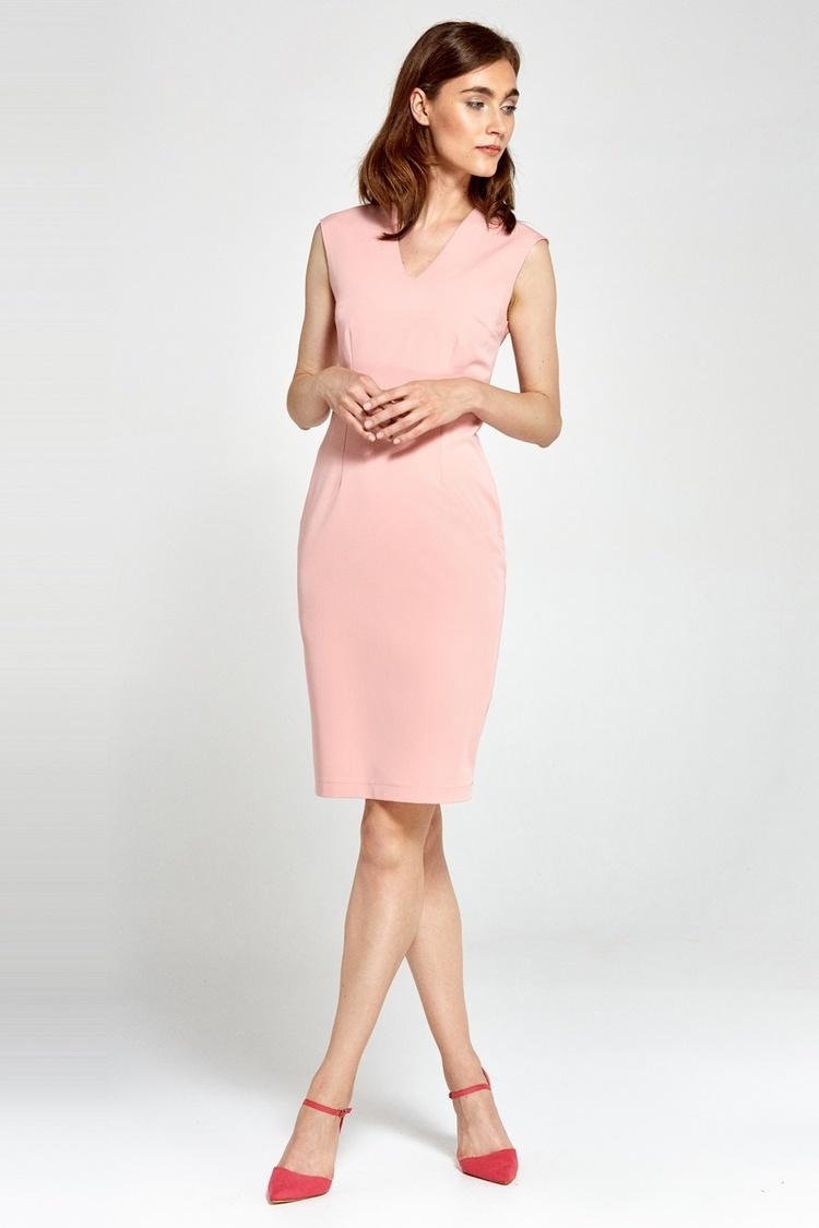 Sukienka Dopasowana sukienka z dekoltem V S87 Pink - Nife