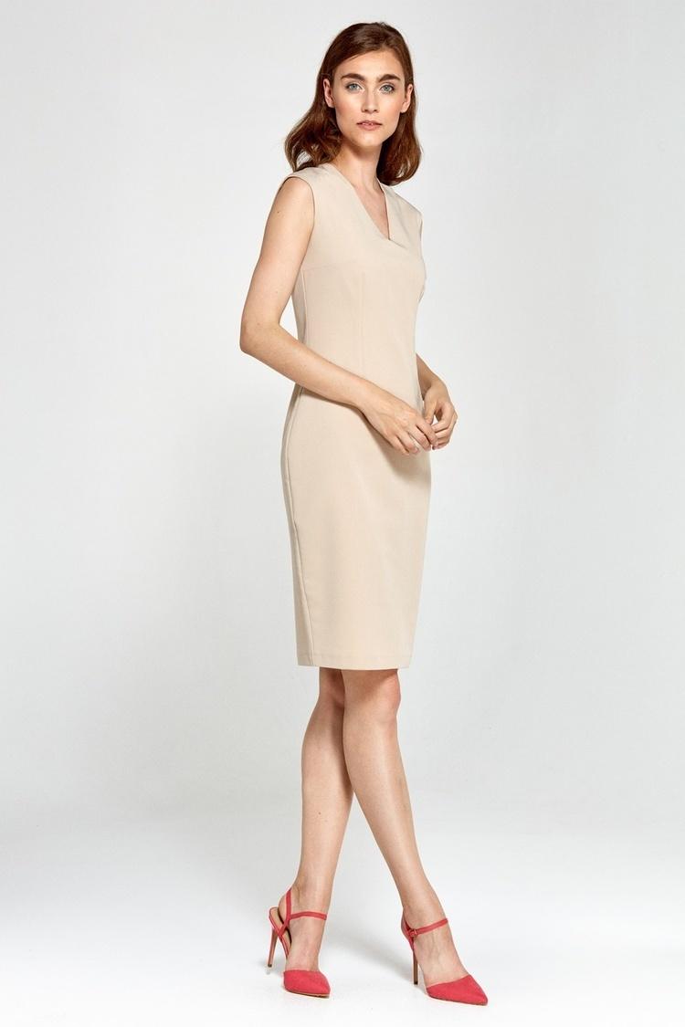 Sukienka Dopasowana sukienka z dekoltem V S87 Beige - Nife