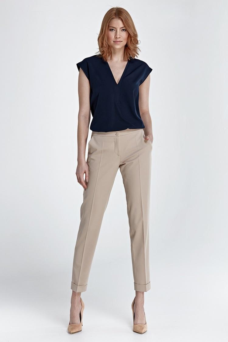 Spodnie z mankietami SD27 Beige - Nife