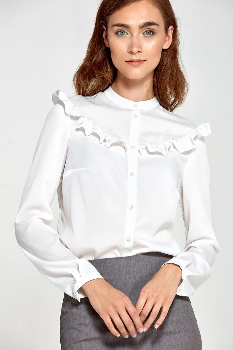 Bluzka z falbankami B82 Ecru - Nife