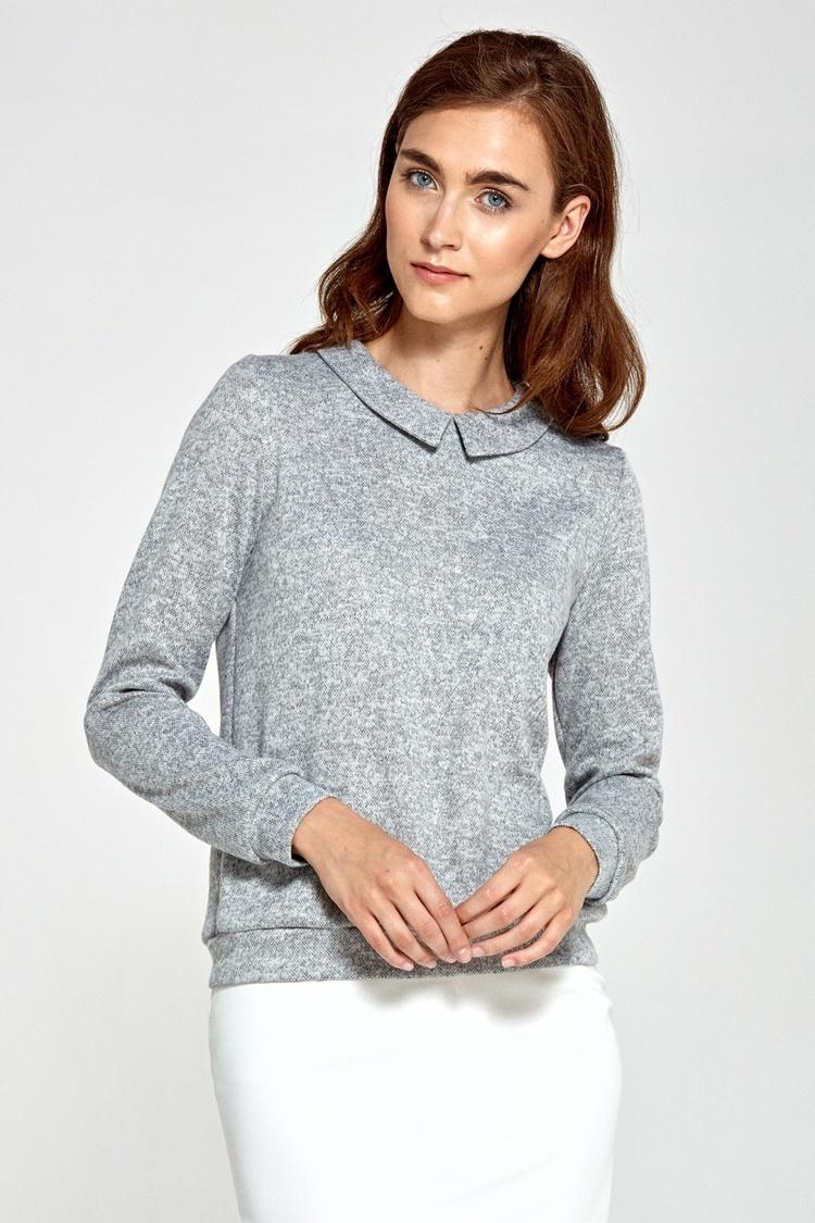 Sweter z kołnierzykiem B85 Grey - Nife