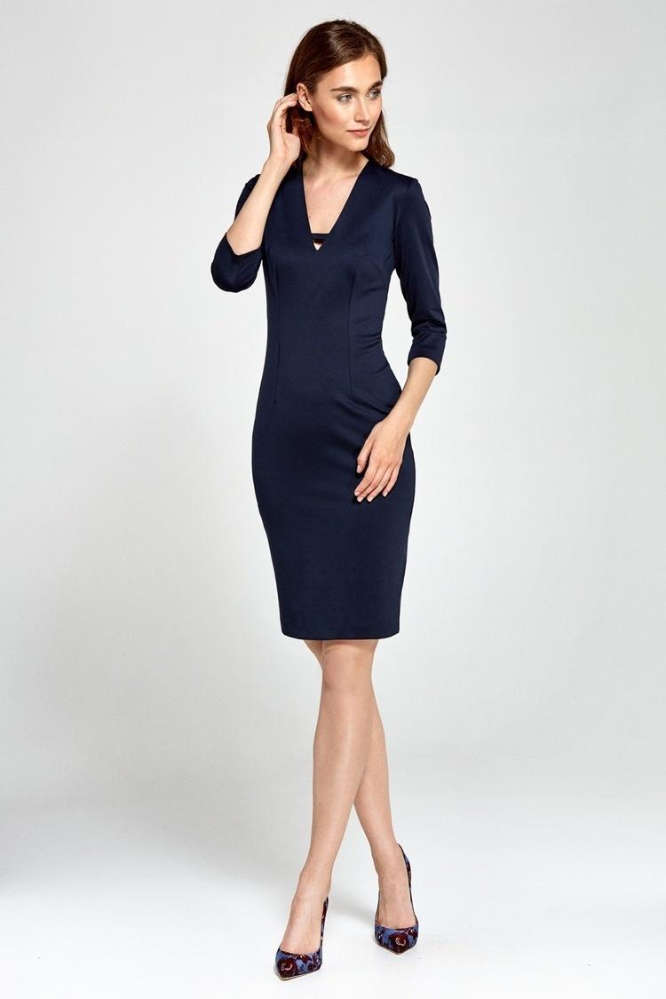 Sukienka Dzianinowa sukienka z dekoltem V S92 Navy - Nife
