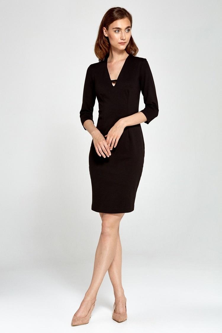 Sukienka Dzianinowa sukienka z dekoltem V S92 Black - Nife