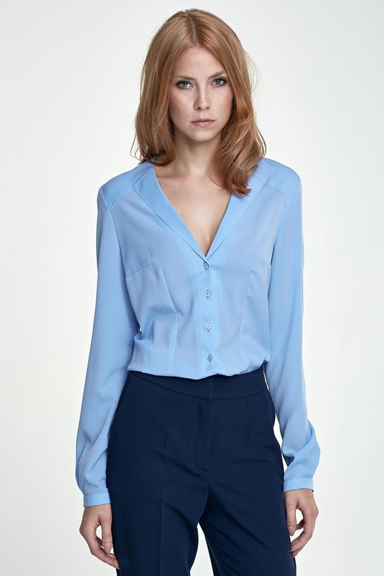 Koszula z nietypowym kołnierzem K50 błękit - Nife