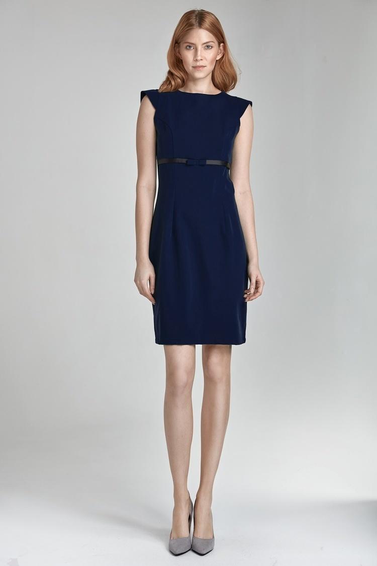 Sukienka z kokardką S36 Navy - Nife