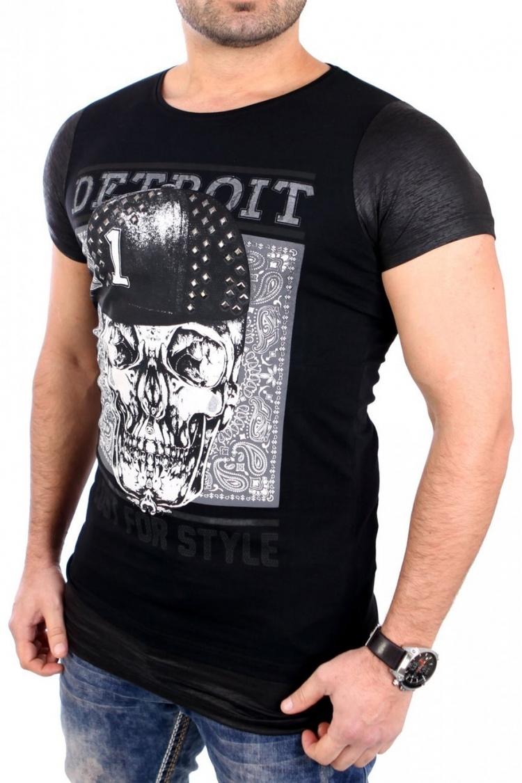 Tshirt Męski Model 17168 Black - YourNewStyle
