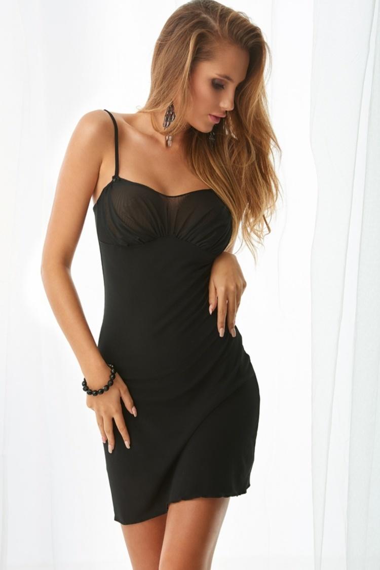 Koszulka nocna Halka Model Aleksandria Black - Kalimo