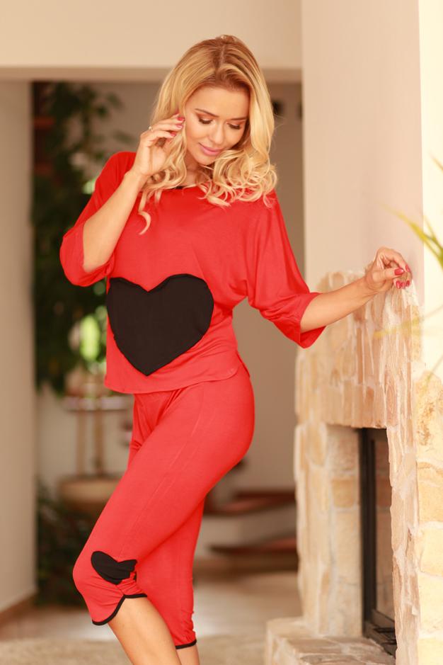 Piżama Komplet Model Vigo wiskoza Red - Kalimo
