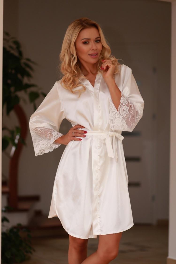 Szlafrok Podomka Model Marbella satyna Ecru - Kalimo